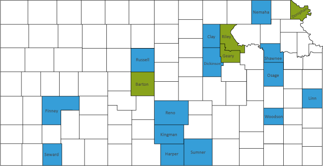 Map of Kansas highlighting the counties.