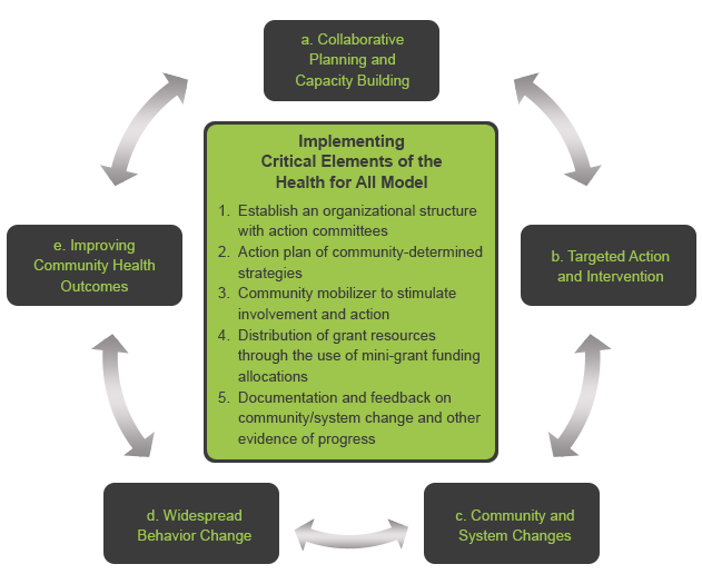 Chart for Implementing Critical Elements of the Health for All Model